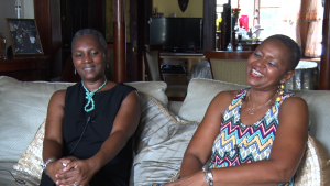 Denise Brown-Puryear and Deborah Young, cofounders of the Crown Heights North Association, pictured during their oral history interview. Photo by Anthony Bellov.