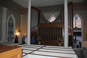 Newly installed modern pipe organ.