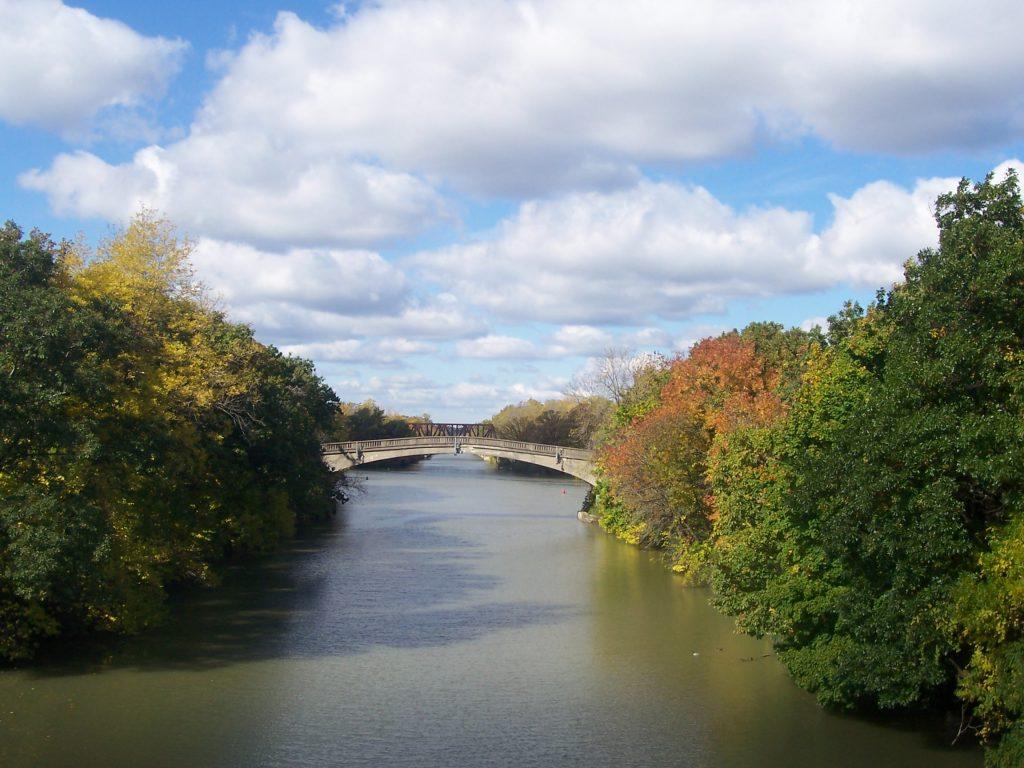 From easternmost bridge to center bridge