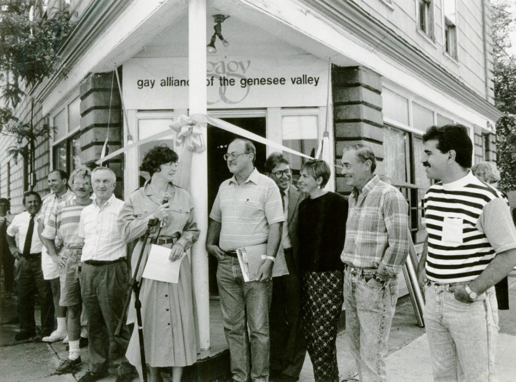 The opening of a new community center by The Gay Alliance of the Genesee Valley in June 1990. Provided by the Gay Alliance of Genesee Valley